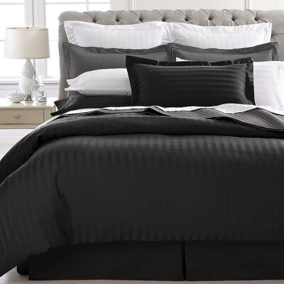Vankirk Polyester 3 Piece Duvet Set Color: Black, Size: Full/Queen