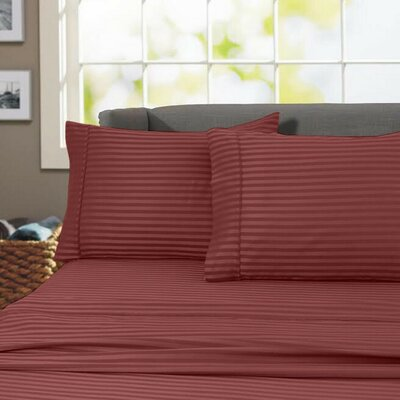 Sheldrake 4 Piece 600 Thread Count 100% Cotton Sheet Set Color: Burgundy