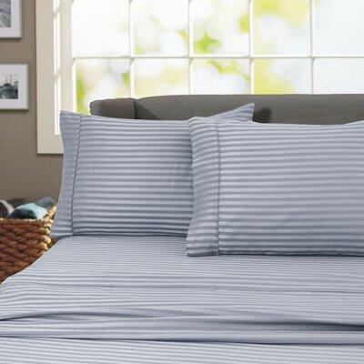 Sheldrake 4 Piece 600 Thread Count 100% Cotton Sheet Set Color: Gray