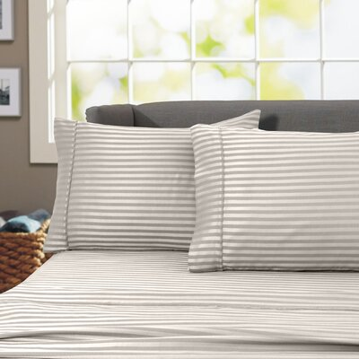 Sheldrake 4 Piece 600 Thread Count 100% Cotton Sheet Set Color: Ivory