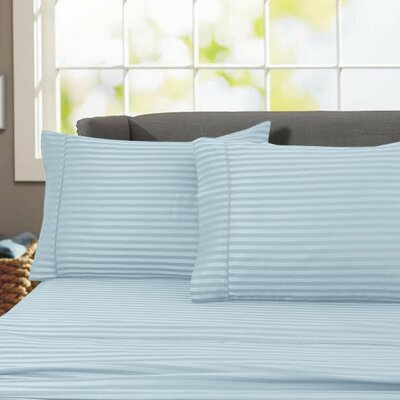 Sheldrake 4 Piece 600 Thread Count 100% Cotton Sheet Set Color: Blue