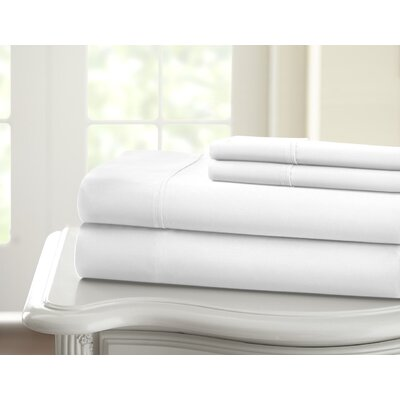 Cavet Sateen Wrinkle Resistant 4 Piece 1200 Thread Count Sheet Set Size: Queen, Color: White