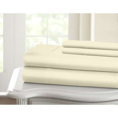 Cavet Sateen Wrinkle Resistant 4 Piece 1200 Thread Count Sheet Set Size: King, Color: Ivory