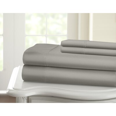 Cavet Sateen Wrinkle Resistant 4 Piece 1200 Thread Count Sheet Set Size: King, Color: Silver