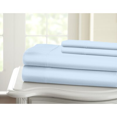 Cavet Sateen Wrinkle Resistant 4 Piece 1200 Thread Count Sheet Set Size: King, Color: Blue
