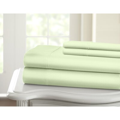 Cavet Sateen Wrinkle Resistant 4 Piece 1200 Thread Count Sheet Set Color: Sage, Size: King