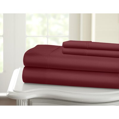 Cavet Sateen Wrinkle Resistant 4 Piece 1200 Thread Count Sheet Set Size: King, Color: Burgundy