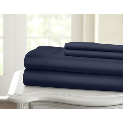 Cavet Sateen Wrinkle Resistant 4 Piece 1200 Thread Count Sheet Set Size: King, Color: Navy