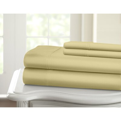 Cavet Sateen Wrinkle Resistant 4 Piece 1200 Thread Count Sheet Set Color: Taupe, Size: Queen