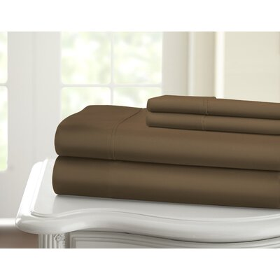 Cavet Sateen Wrinkle Resistant 4 Piece 1200 Thread Count Sheet Set Size: Queen, Color: Chocolate
