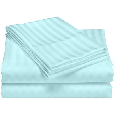 Cazares Stripe Weave 1200 Thread Count Egyptian-Quality Cotton Sheet Set Color: Aqua, Size: King