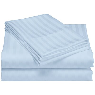 Cazares Stripe Weave 1200 Thread Count Egyptian-Quality Cotton Sheet Set Color: Blue, Size: Queen