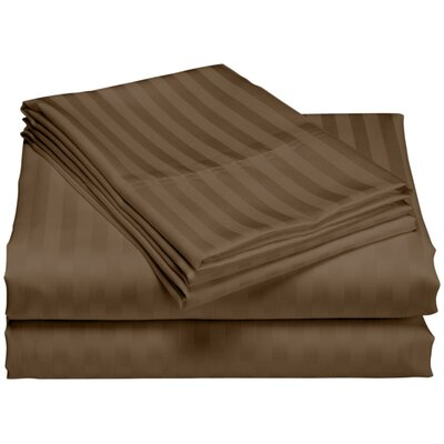 Cazares Stripe Weave 1200 Thread Count Egyptian-Quality Cotton Sheet Set Color: Brown, Size: King