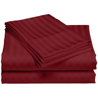 Cazares Stripe Weave 1200 Thread Count Egyptian-Quality Cotton Sheet Set Color: Burgundy, Size: Queen