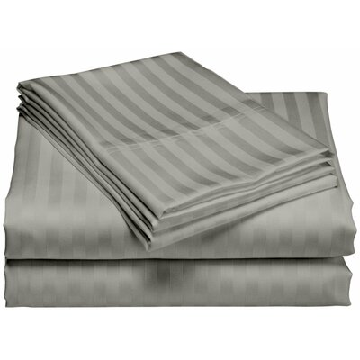 Cazares Stripe Weave 1200 Thread Count Egyptian-Quality Cotton Sheet Set Color: Gray, Size: Queen