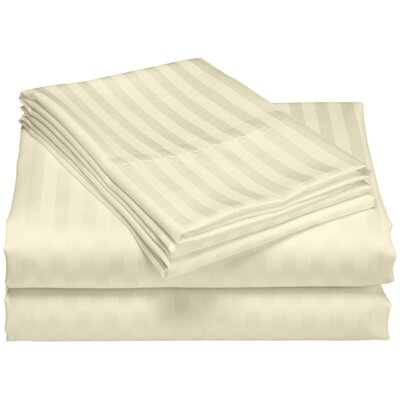 Cazares Stripe Weave 1200 Thread Count Egyptian-Quality Cotton Sheet Set Color: Ivory, Size: Queen