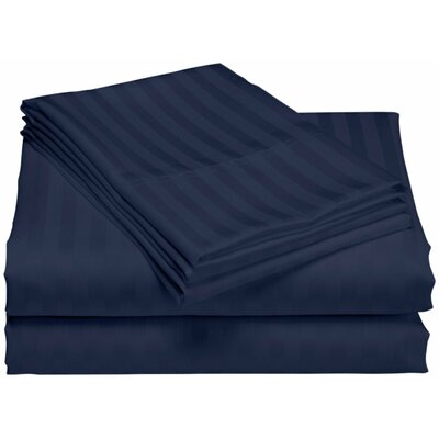 Cazares Stripe Weave 1200 Thread Count Egyptian-Quality Cotton Sheet Set Color: Navy, Size: King