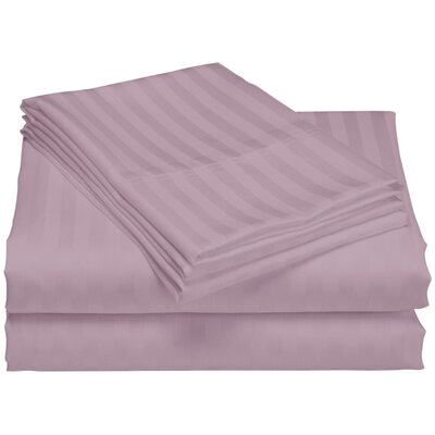 Cazares Stripe Weave 1200 Thread Count Egyptian-Quality Cotton Sheet Set Color: Purple, Size: Queen