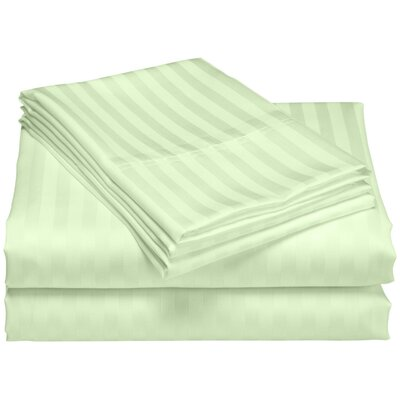 Cazares Stripe Weave 1200 Thread Count Egyptian-Quality Cotton Sheet Set Color: Sage, Size: Queen