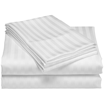 Cazares Stripe Weave 1200 Thread Count Egyptian-Quality Cotton Sheet Set Color: Silver, Size: Queen