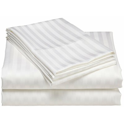 Cazares Stripe Weave 1200 Thread Count Egyptian-Quality Cotton Sheet Set Color: White, Size: King