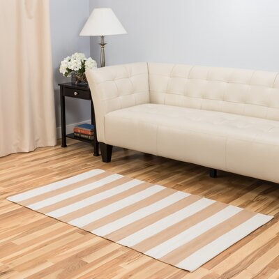 Hand-Loomed Tan/White Area Rug Rug Size: 3 x 5