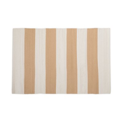 Hand-Loomed Tan/White Area Rug Rug Size: 2 x 3