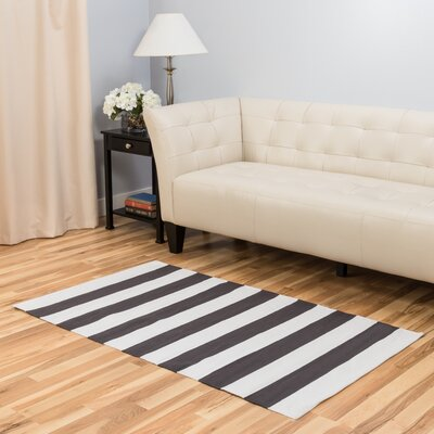 Hand-Loomed Charcoal/White Area Rug Rug Size: 3 x 5