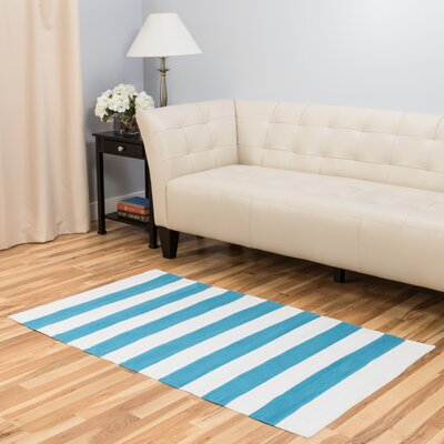 Hand-Loomed Turquoise/White Indoor/Outdoor Area Rug Rug Size: 3 x 5