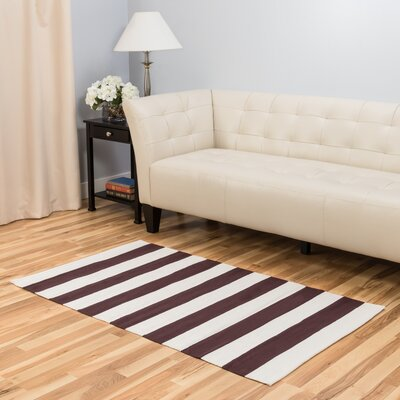Hand-Loomed Chocolate/White Area Rug Rug Size: 3 x 5