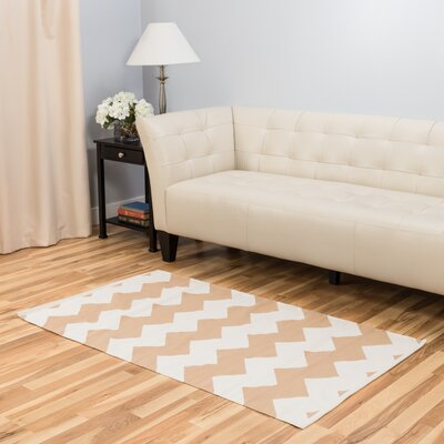 Tan/White Indoor/Outdoor Area Rug Rug Size: 3 x 5
