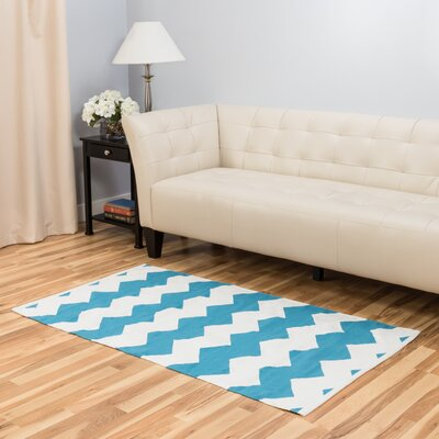 Turquoise/White Indoor/Outdoor Area Rug Rug Size: 3 x 5