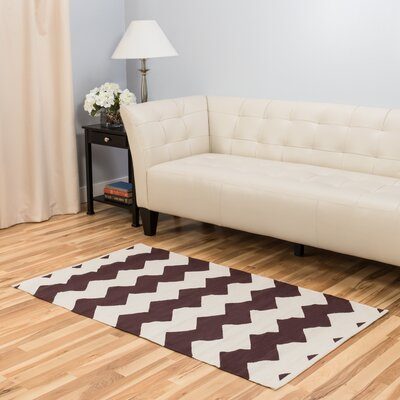 Chocolate/White Area Rug Rug Size: 3 x 5