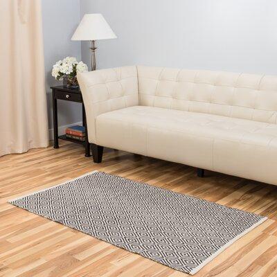 Hand-Loomed Charcoal Indoor/Outdoor Area Rug Rug Size: 3' x 5'