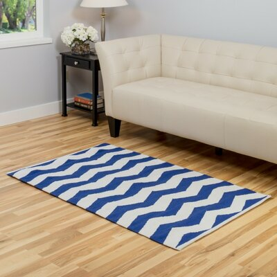 Blue/White Area Rug Rug Size: 3 x 5