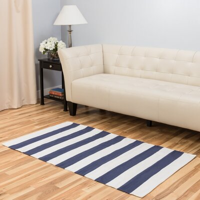Hand-Loomed Blue/White Area Rug Rug Size: 3 x 5