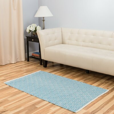 Hand-Loomed Turquoise Area Rug Rug Size: 3 x 5