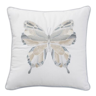 Sea Glass Mosaic Embroidered Butterfly Cotton Throw Pillow