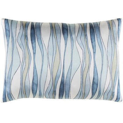 Natural Affinity Silk Lumbar Pillow Color: White / Blue