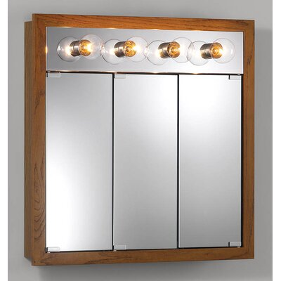 30 x 30 Surface Mount Medicine Cabinet with Lighting Finish: Honey Oak