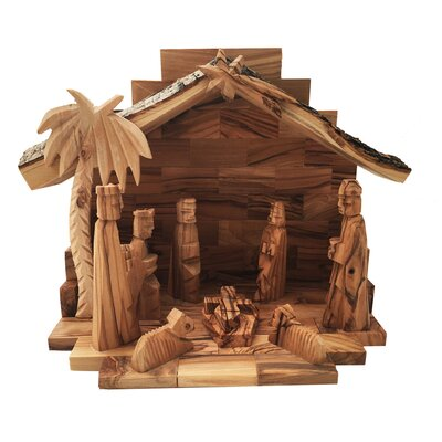 Olive Wood Nativity Set Glued Figures 0432G