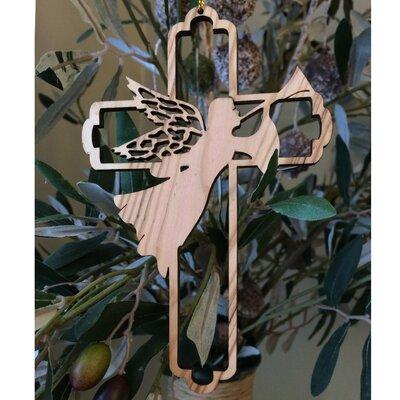 Olive Wood Angel Cross Ornament