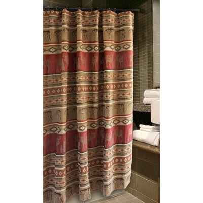 Adirondack Bear and Moose Cabin Shower Curtain