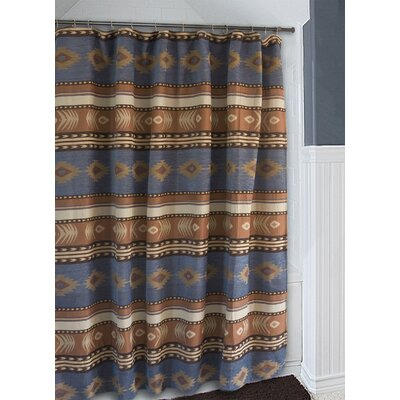 Branford Denim Blue and Brown Southwest Western Shower Curtain