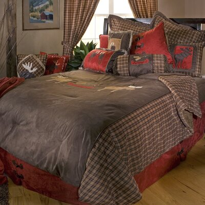 Moose Plaid Reversible Comforter Set Size: King