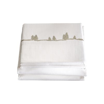 4 Piece Embroidered Pines 200 Thread Count 100% Cotton Sheet Set Size: Queen