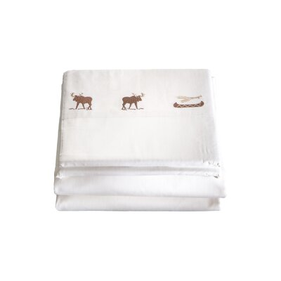 Halima 4 Piece Embroidered Moose 200 Thread Count 100% Cotton Sheet Set Size: Twin