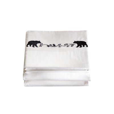 Hampden 4 Piece Embroidered Bear 200 Thread Count 100% Cotton Sheet Set Size: Full