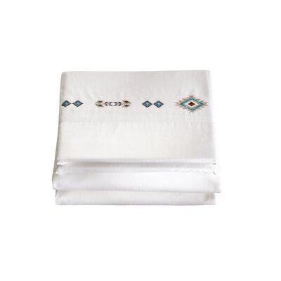Hancock 4 Piece Southwest Diamond Embroidered 200 Thread Count 100% Cotton Sheet Set Size: Twin