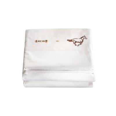 Hannes 4 Piece Embroidered Horse 200 Thread Count 100% Cotton Sheet Set Size: Full